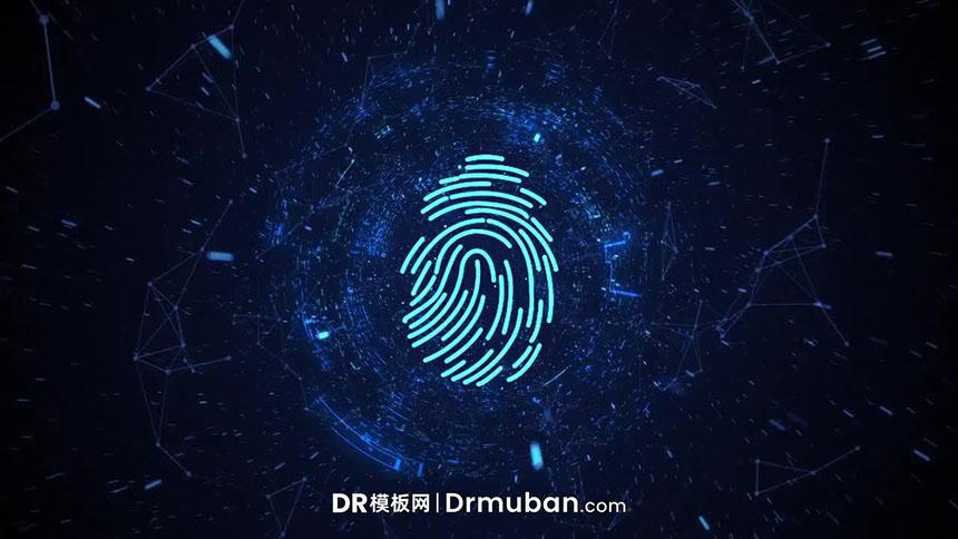 达芬奇片头模板 高科技指纹解锁数字信号隧道穿梭LOGO展示DR模板