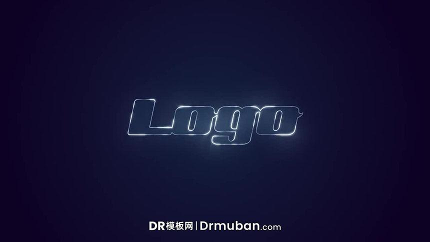 达芬奇模板 闪亮logo描边发光特效展示DR片头模板-DR模板网