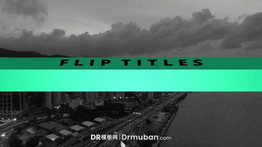 达芬奇模板 3D翻转标题文字动画达芬奇字幕模板 Flip Titles