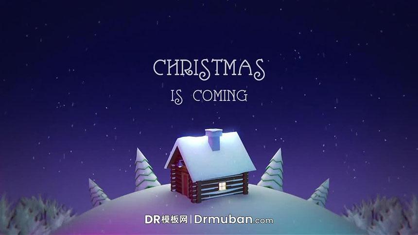 达芬奇模板 圣诞节3D雪景旋转效果DR开场视频模板下载