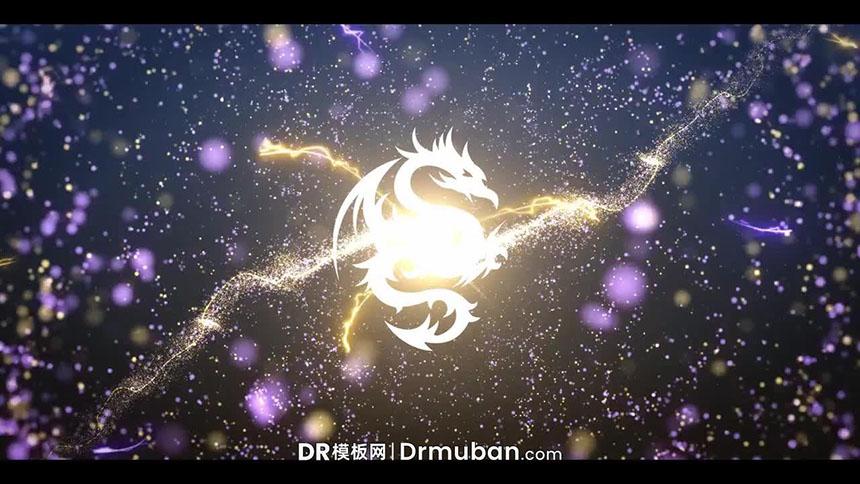 DR开场片头模板 太空粒子飞舞对撞动态logo展示达芬奇模板下载-DR模板网