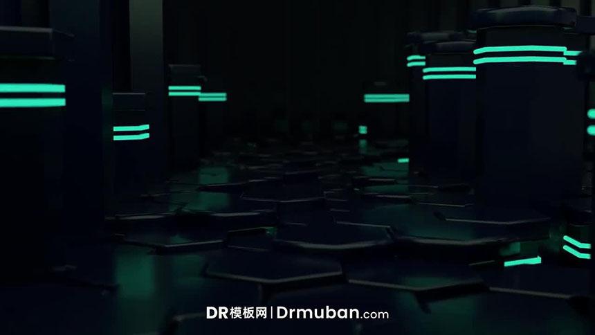 DR片头模板 3D黑科技立体升降台面动态log展示达芬奇模板下载