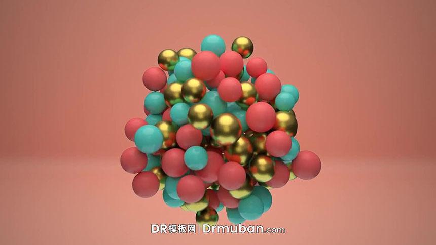 开场片头DR模板 3D海洋球儿童卡通节目动态logo展示达芬奇模板下载