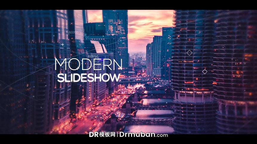 达芬奇模板 现代魔幻感城市夜景展示DR幻灯片模板下载