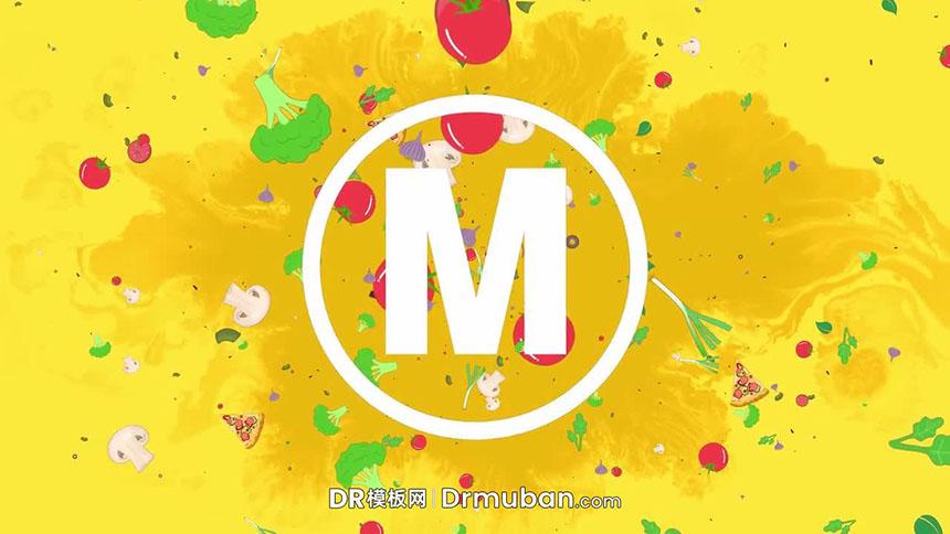动态logo展示DR模板 卡通食物餐厅广告美食短视频达芬奇模板下载