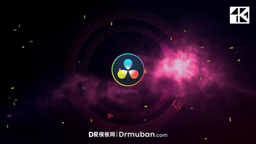 DR开场片头模板 能量闪电毛刺扭曲动态logo展示达芬奇模板下载