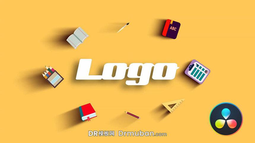 DR片头模板 学校招生宣传片动态logo展示达芬奇模板下载