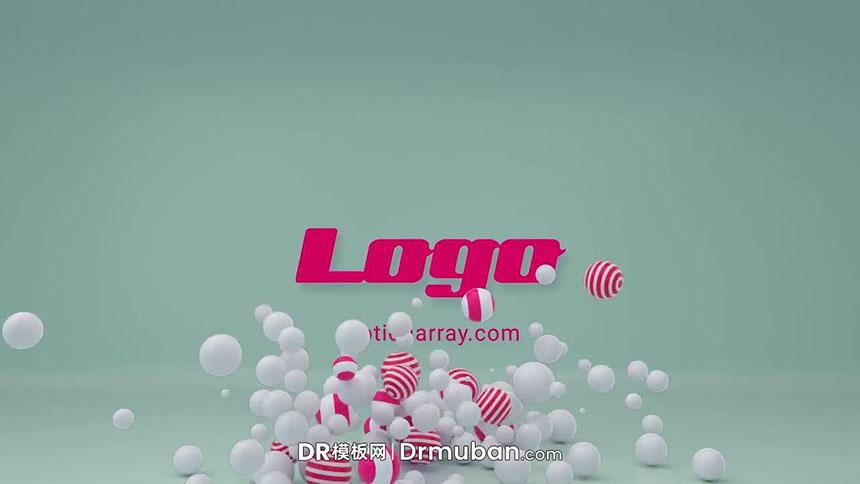 DR免费片头模板 时尚海洋球动态logo展示达芬奇模板下载-DR模板网