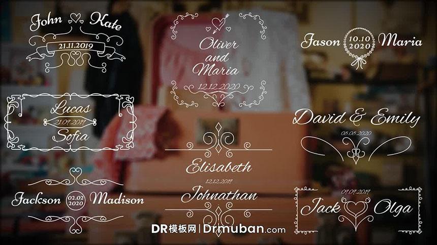 DR模板 复古花纹求婚告白短视频动态全屏标题达芬奇模板下载