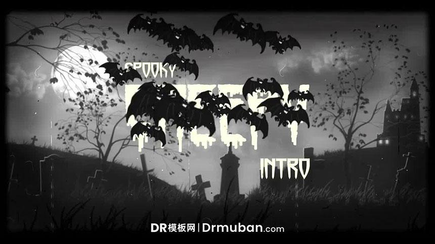 DR模板 万圣节惊悚墓地蝙蝠动态logo展示达芬奇模板