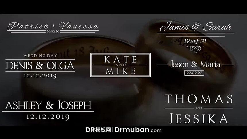 简约动态线条生长动画婚礼视频标题字幕DR达芬奇预设