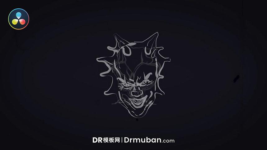 DR短视频模板 万圣节鬼脸动态logo达芬奇模板