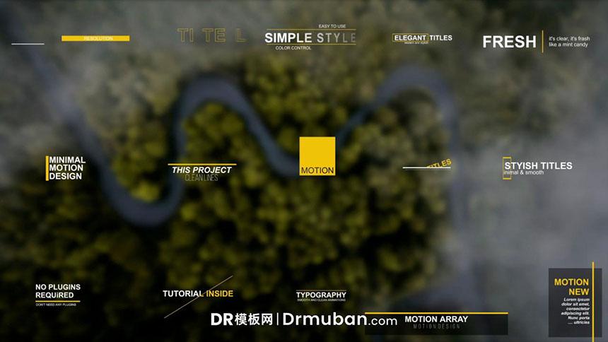 免费DR模板 15个动态线条全屏标题达芬奇模板下载