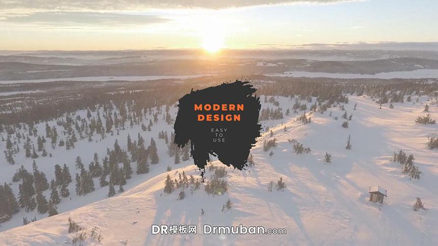 达芬奇标题模板 创意墨水晕染效果动态全屏标题DR模板-DR模板网