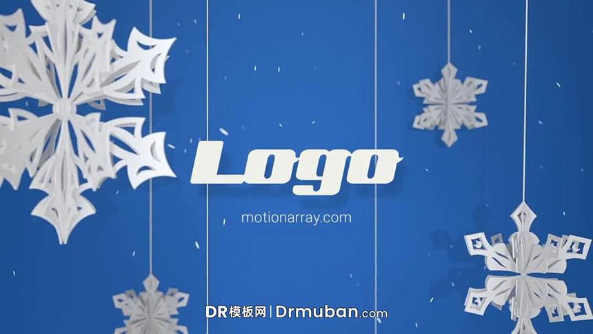 DR模板 圣诞立体雪花剪纸logo展示达芬奇模板