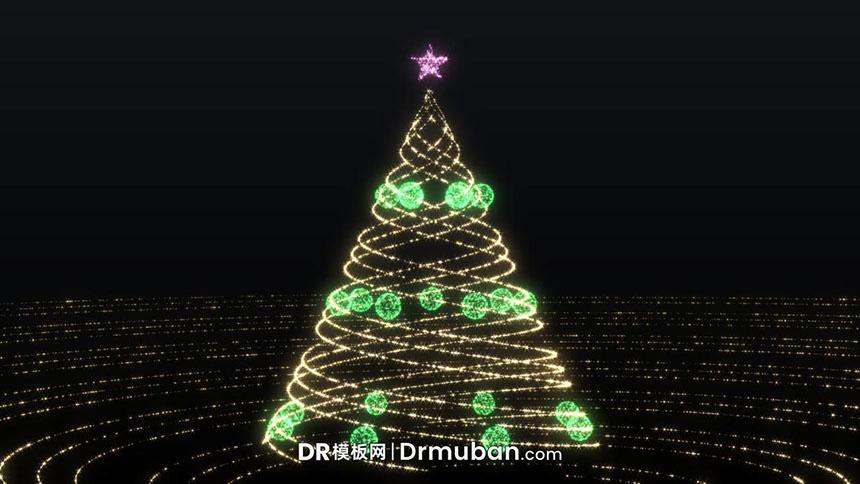 DR圣诞节预设 创意发光金色圣诞树派对开场达芬奇预设下载