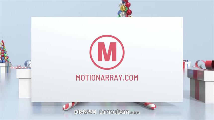 DR模板 3D效果圣诞元素动态logo展示达芬奇模板