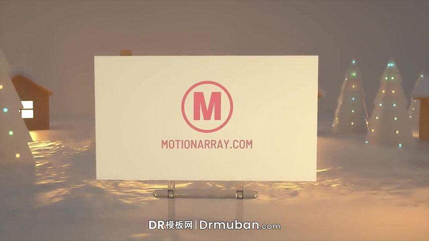 DR模板 圣诞节冰雪小镇广告牌动态片头达芬奇模板
