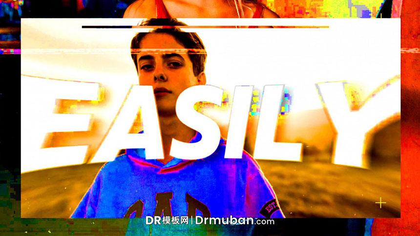DR模板 彩色毛刺效果时尚短视频达芬奇模板