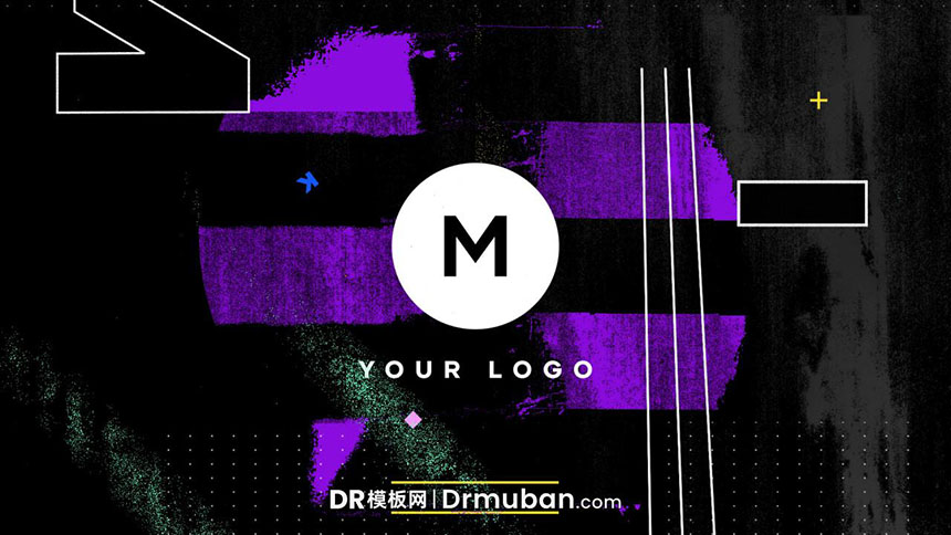 DR模板 现代炫酷失真效果logo展示达芬奇片头模板