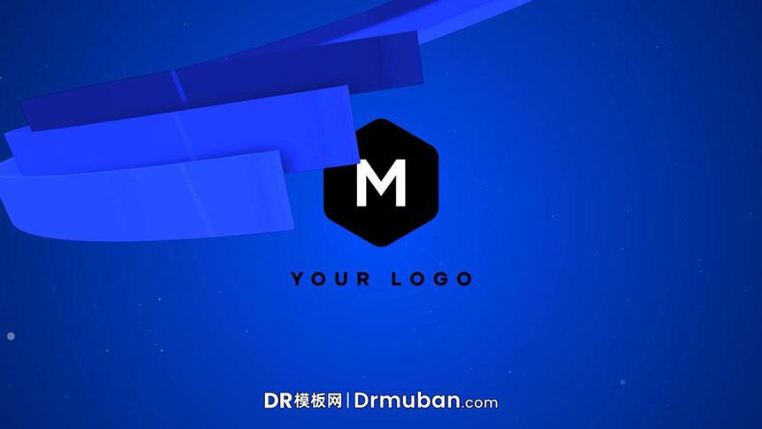 DR模板 3D立体丝带环绕动态logo展示达芬奇模板