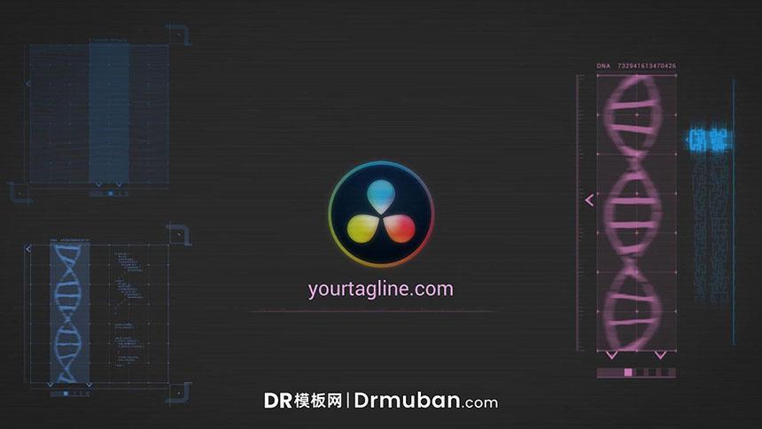 DR模板 科技感显示器动态logo展示达芬奇模板