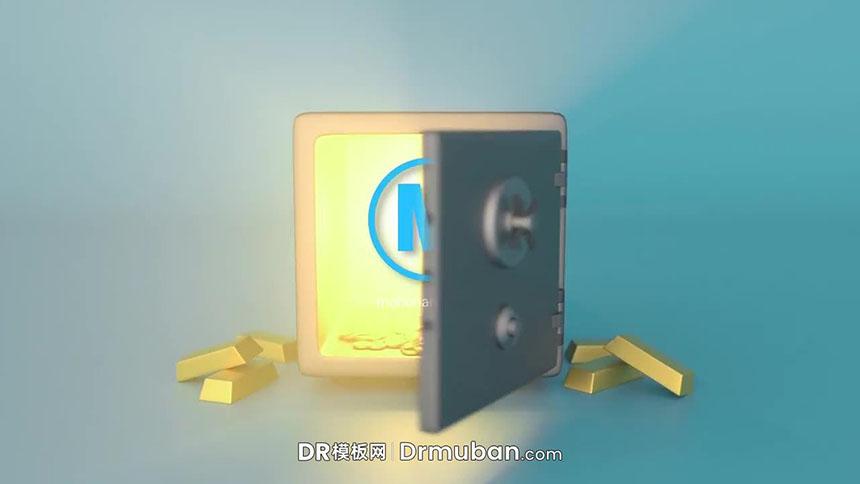 DR模板 3D保险箱创意动画logo展示达芬奇模板下载