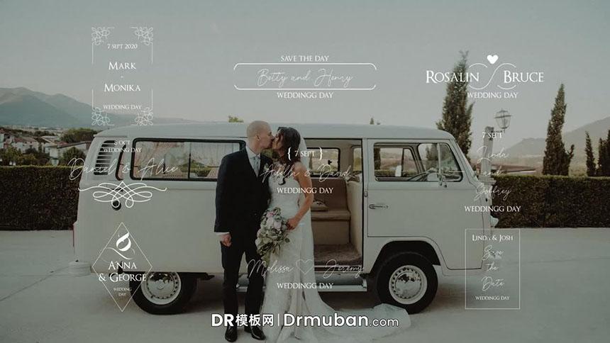 DR模板 9个复古纹饰婚礼告白短片动态全屏标题达芬奇模板-DR模板网