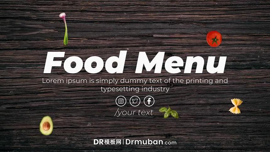 朋友圈视频DR模板 餐厅食物菜单动态图文展示达芬奇模板