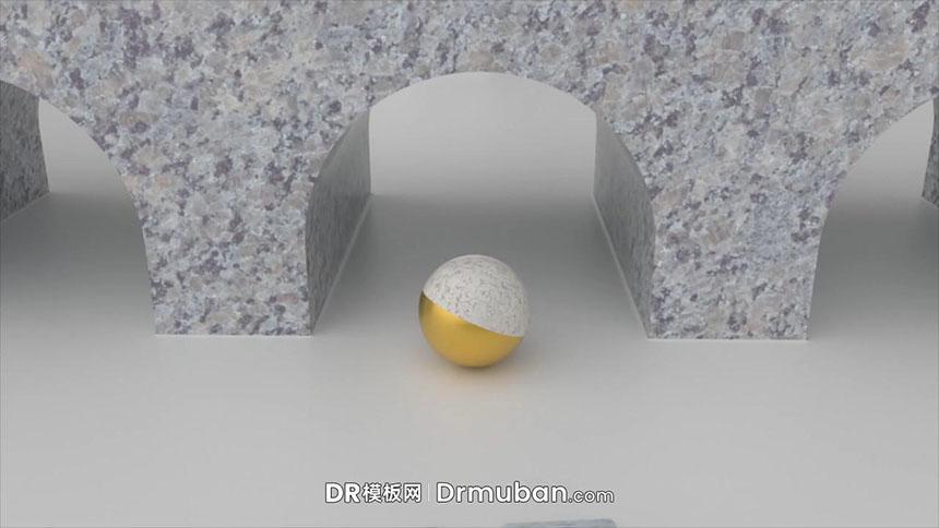 达芬奇模板 3D大理石世界金色圆球滚动logo展示DR模板-DR模板网