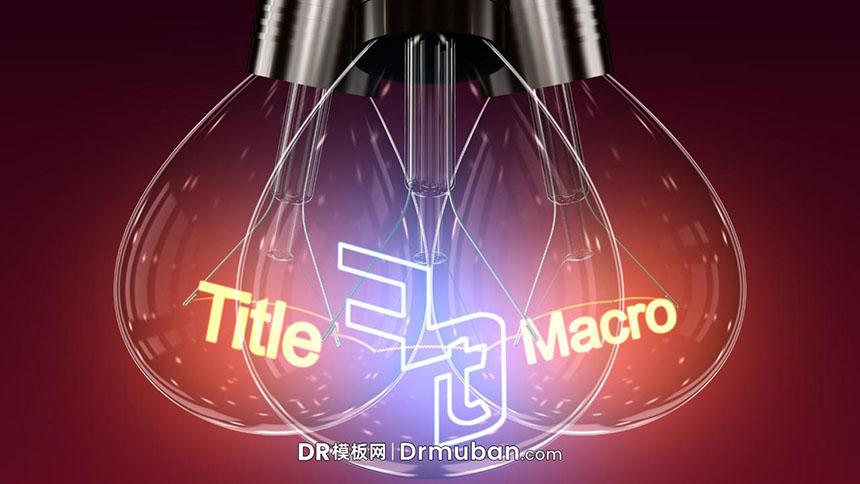 达芬奇预设 立体3D钨灯发光霓虹动态标题logo展示DR预设
