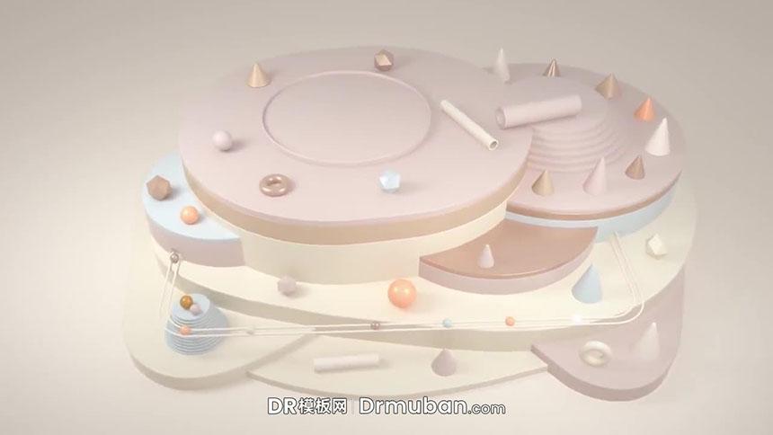 达芬奇模板 3D场景动态母婴品牌logo展示DR模板下载-DR模板网