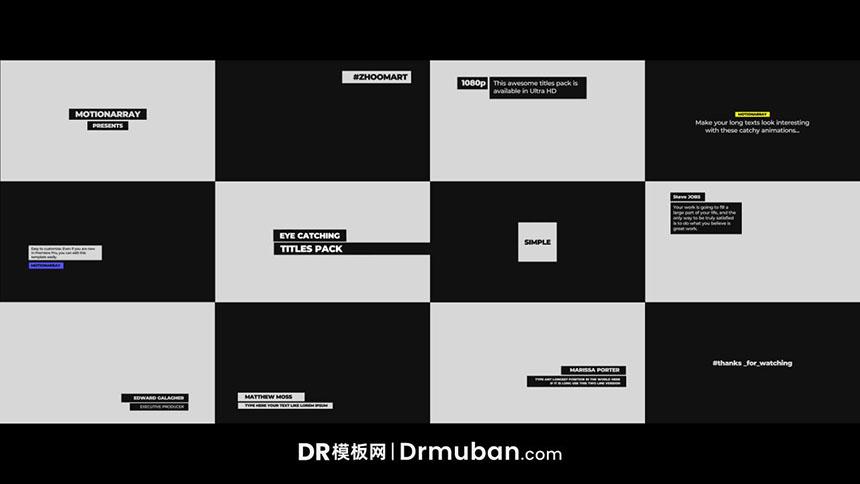 DR模板 12个个性化排版全屏标题达芬奇模板