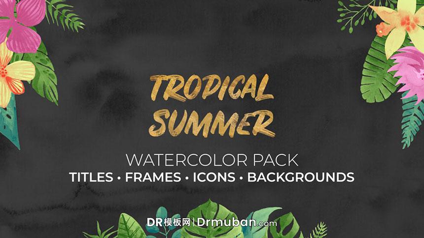 DR模板 热带夏季创意手绘水彩背景素材达芬奇模板-DR模板网