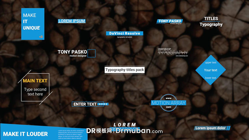 达芬奇模板 创意线条图形排版全屏标题DR模板下载