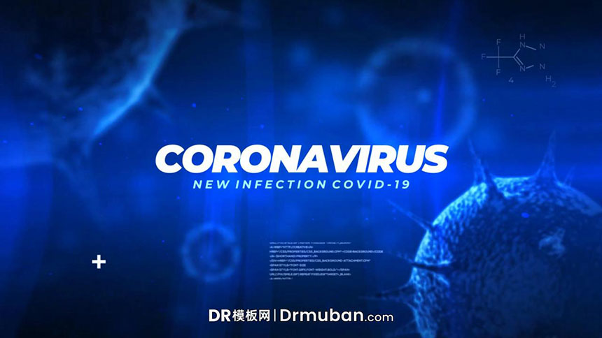 DR模板 冠状病毒爆发新闻视频防治宣传达芬奇模板下载