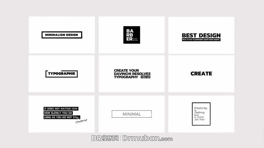 DR模板 极简黑白创意排版短视频标题达芬奇模板下载