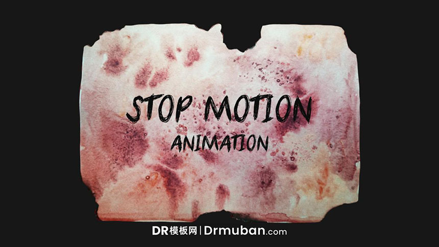 达芬奇模板 个性皱褶手绘彩纸展开动态logo展示DR模板