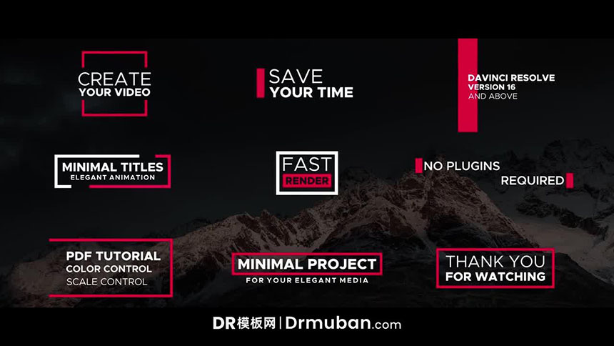 达芬奇预设 简单炫酷短视频纪录片动态标题DR预设免费下载