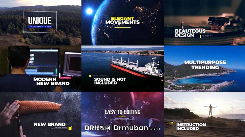 达芬奇模板 9个纪录片vlog创意排版标题DR模板下载