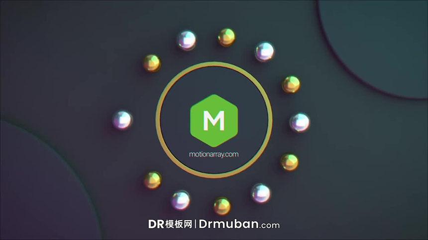 免费达芬奇模板 3D动态金属球时尚logo展示DR模板下载-DR模板网