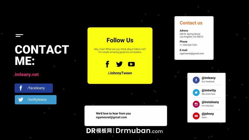 达芬奇模板 商业合作网址地址展示动态视频DR模板免费下载-DR模板网