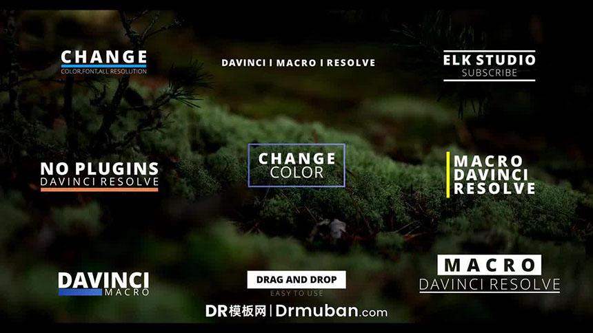 DR标题模板 彩色创意排版全屏标题动画达芬奇模板下载