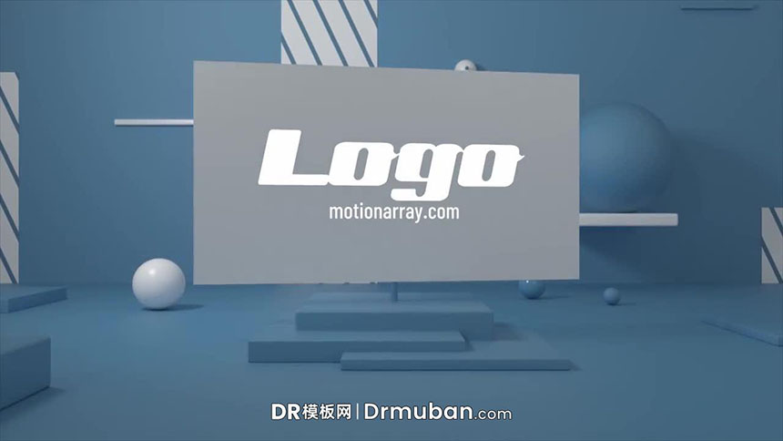 DR免费模板 3D支架动态logo展示视频达芬奇模板下载