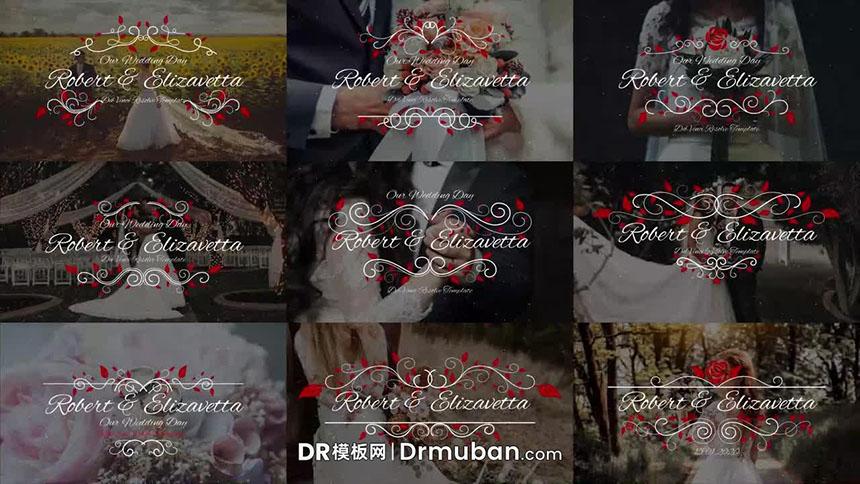 DR婚礼标题 浪漫花朵动态婚礼标题达芬奇模板下载