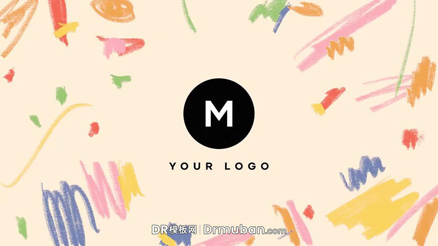 DR片头模板 卡通童真手绘动态logo展示达芬奇模板下载