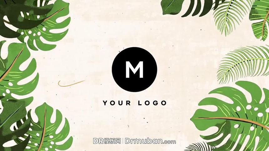 DR模板 自然热带树叶动态logo展示达芬奇模板免费下载