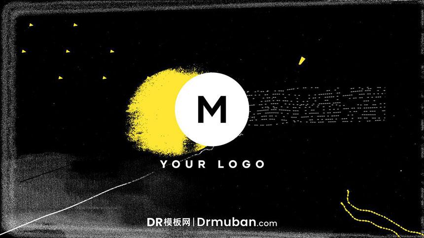 DR模板 抽象涂鸦失真动态logo展示达芬奇模板下载