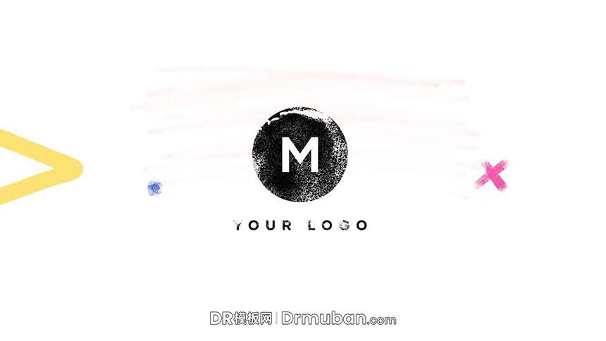开场片头达芬奇模板 创意手绘笔刷动态logo展示DR模板下载