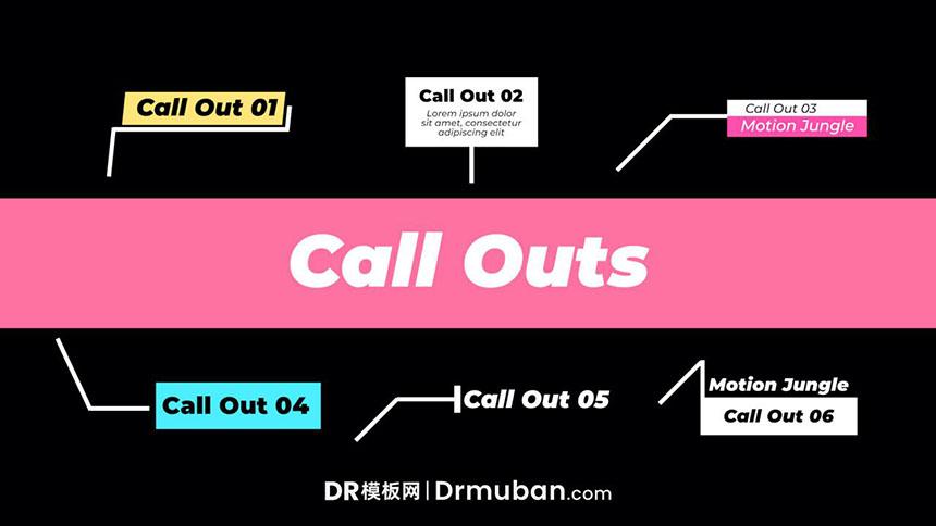 DR标题模板 6个简单线条呼出动态标题达芬奇模板免费下载-DR模板网